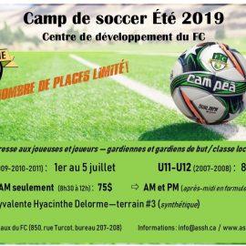 Inscriptions – Camp de soccer du FC 2019